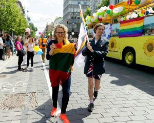 City Councillors Ausrine Armonaite and Mark Adam Harold at Baltic Pride 2016 in Vilnius, Lithuania. Photo: Vincas Alesius