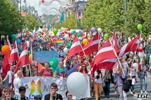 Thousands of marchers fill the main street of Vilnius, Lithuania for Baltic Pride 2016. Photo: Augustas Didzgalvis