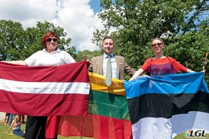 Representatives of all three Baltic States take to the stage at Baltic Pride. Photo: Augustas Didzgalvis